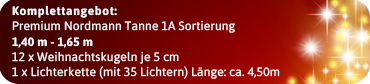 Komplett Angebot Tannenbaum mit Kugeln 1,40m - 1,65m